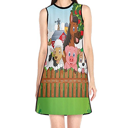 Cute Farm Animals Women's Fashion Sleeveless Mini Dress Print Party Dress Tank (Animal Print Silk Dress)