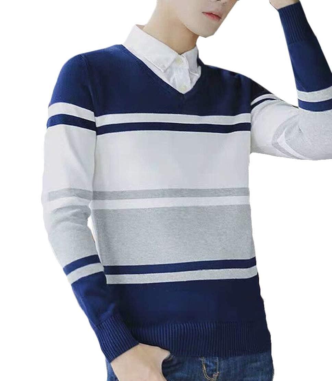 JXG Men Plus Size Long-Sleeve V-Neck Fit Color Block Knit Sweater Pullover