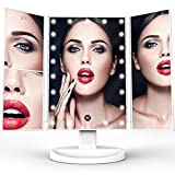 TriFold Illuminated Vanity Makeup Mirror, with 21 LED, Touch Screen, 180° Adjustable Stand