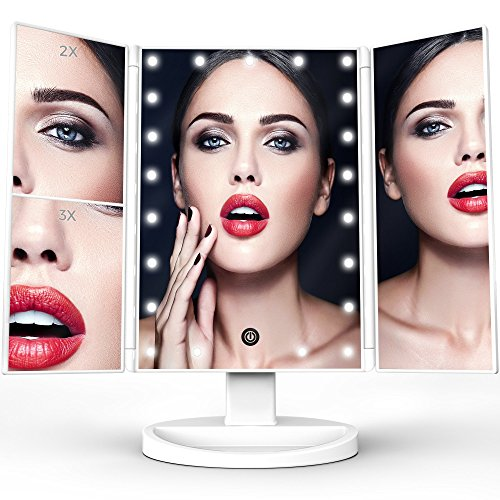 TriFold Illuminated Vanity Makeup Mirror, with 21 LED, Touch Screen, 180° Adjustable Stand, 1x/2x/3x Magnification, Batteries and Usb Charging -