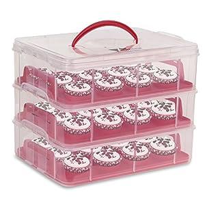 Amzdeal Présentoir Cupcakes avec 3 Couches Rangement Capable de Séparés, Boîte de Transport de Gâteaux, des Muffins, des Cookies avec 36 Piècess-Rouge