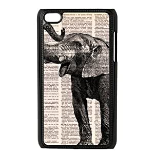 Customize Fancy Elephant black plastic Case Fits and Protect IPod Touch 4th at luckhappy store