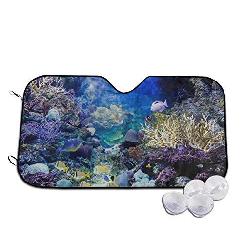 - Caribbean Reef Fish Ocean Animal (2) Car Windshield Sun Shade Blocks UV Rays Sun Visor Protector Vehicle Cool Heat Shield Shade