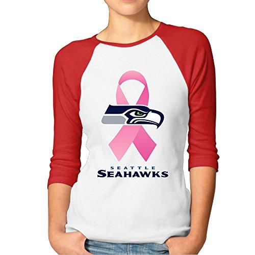 ReBorn Women's Seattle Ribbon Seahawk Baseball Raglan T-shirt Red XL