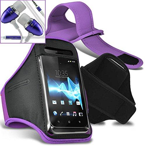 Vodafone Smart first 6 Armbänder Hülle Cover mit verstellbarem Klettverschluss zum Sport, im Fitnessstudio, beim Joggen, Laufen, Fahrradfahren, Radfahren Schutz - Grün / Green - Von Gadget Giant® Licht lila / Light Purple Armbänder + Kopfhörern