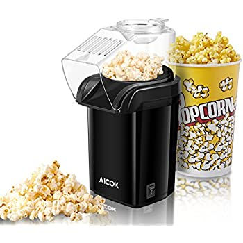 Aicok Popcorn Maker, Hot Air Popcorn Popper with Measuring Spoon, No Oil Needed,