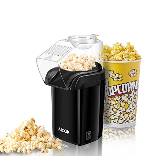 Aicok Popcorn Maker, 1200W Fast Popcorn Machine, Hot Air Popcorn Popper with Wide Mouth Design, No Oil Needed, Including Measuring Cup and Removable Lid, FDA Approved and (Cup Including Lid)