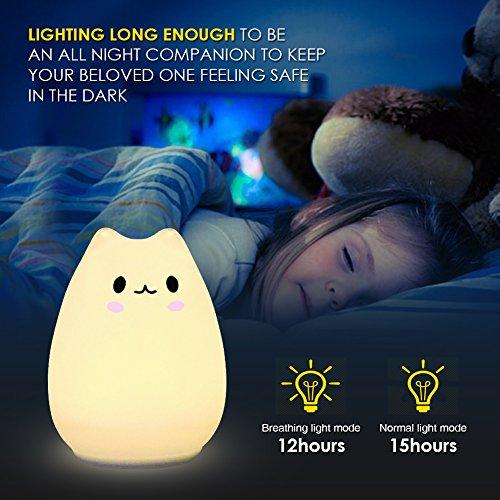 Children Night Light,Elfeland LED Night Light for Kid Bedside Lamp Mood Atmosphere Light Cute Rabbit Fairy Light USB Rechargeable Sensitive Tap Control Baby Night Light Ideal for Bedroom Birthday Gift