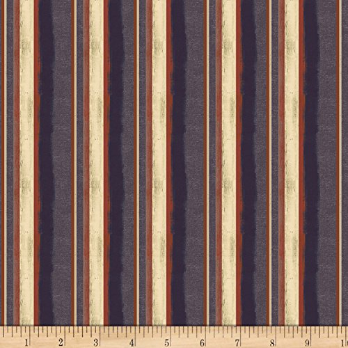 (Clothworks Land That I Love Stripe Light Indigo Fabric by The Yard)