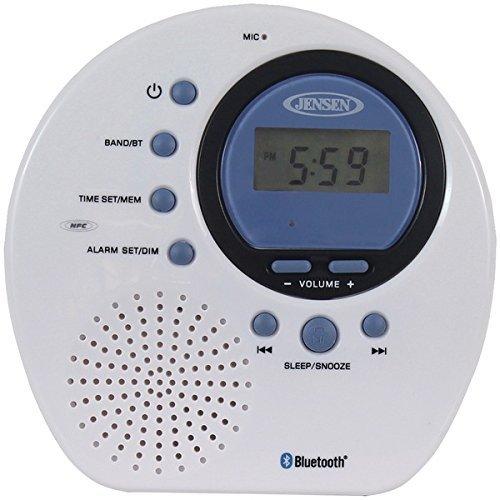 Jensen(R) JWM-160 Water-Resistant Digital AM/FM Bluetooth(R) Shower Clock Radio (Jensen Shower Radio)