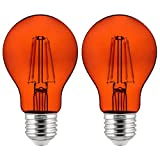 colored light bulbs 60 watt - Sunlite 81085 A19 Standard 4.5 (60 Watt Equivalent) Colored Transparent Dimmable Light Bulb, 2 Pack, Orange