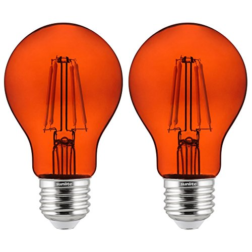 Sunlite 81085 A19 Standard 4.5 (60 Watt Equivalent) Colored Transparent Dimmable Light Bulb, 2 Pack, Orange