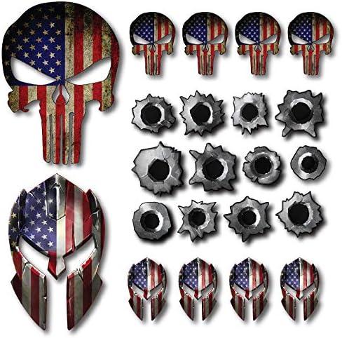 Decals by Haley Paquete de 22 calcomanías para Casco Spartan Punisher Skull Bullet Hole Calcomanías Molon Labe Calcomanía Sniper Bandera de Estados Unidos (Paquete de 22): Amazon.es: Coche y moto