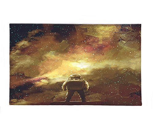 Interestlee Fleece Throw Blanket Fantasy Art House Decor Cosmonaut Boy Standing against Cosmos Nebula Themed Solar Artprint Tan Black by Interestlee