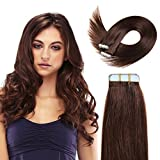 20 Inch Tape In Hair Extensions 100% Remy Straight Tape Human Hair Extensions 20pcs 50g/pack (#4) Medium Brown ...