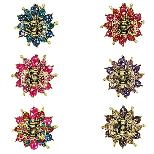 Yeshan Rhinestone and Crystal Bronze Metal Jaw Claw Hair Clip,Small Flower Design Vintage hair clip Barrettes for Women,pack of 6.