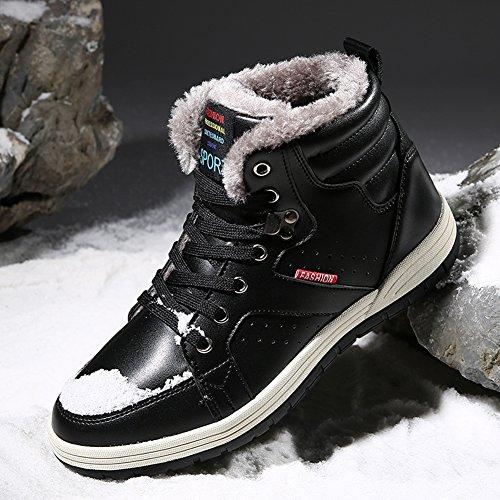 Ceyue Da Uomo In Pelle Stivali Da Neve Stringate Alla Caviglia Sneakers Alte Scarpe Invernali Con Fodera In Pelliccia 1-nero