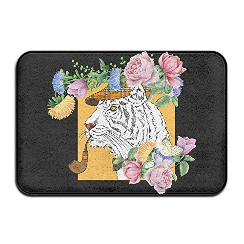 Cara Lawson White Tiger with Gentleman Neck Tie Funny Doormats Welcome Mat (Tigers Polyester Tie Woven)