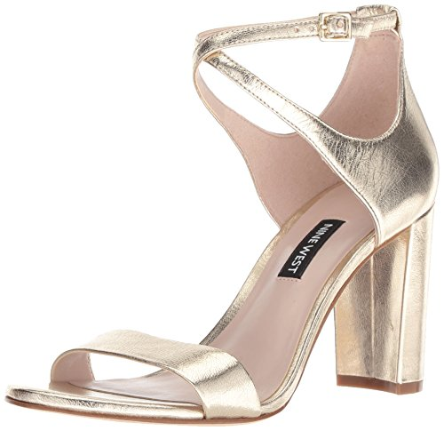 Nine West Women's NUNZAYA Metallic Heeled Sandal, Light Gold, 8 M US