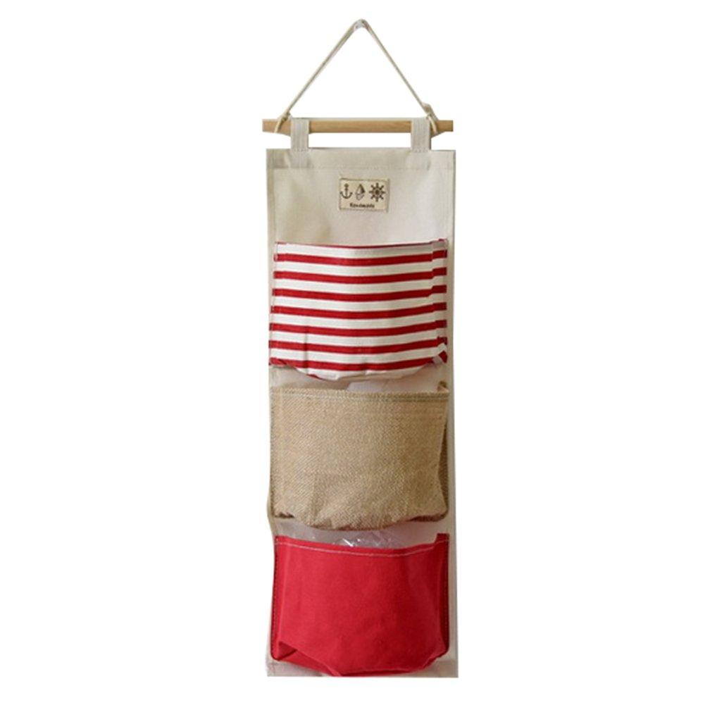 3 bolsillos de lino de algod/ón de colgar el bolso de bolsillo Meedot Armario Puerta de la pared /Única ca/ída de almacenamiento de la cesta Organizador de cubo Espacio Saver regalo Yellow
