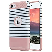 iPod Touch 6 Case,iPod Touch 5 Case,ULAK [Colorful Series] 2-Piece Style Hybrid Hard Case Cover for Apple iPod touch 5 6th Generation(Minimal Rose Red Stripes)