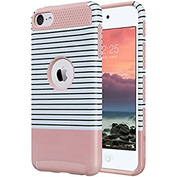 iPod touch 6th generation case,iPod 6 Cases for girls,ULAK Ultra Slim Dual Layer Hybrid Protective Case Hard Cover for Apple iPod touch 5 6th Generation(Minimal Rose Red Stripes)