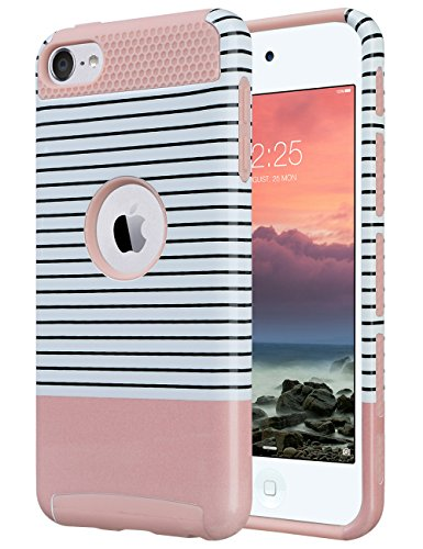 iPod Touch 6 Case,iPod Touch 5 Case,ULAK [Colorful Series] 2-Piece Style Hybrid Hard Case Cover for Apple iPod touch 5 6th Generation(Minimal Rose Red Stripes) - Ipod 5 Colorful Cases For Girls