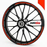 Motoking GP wheel rim sticker for 15', 16', 17', 18' and 19' Motorcycle & Car Wheels - colour selectable - neon red
