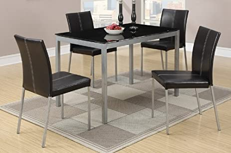 metal dining table with black glass top and 4 chairs by poundex - Dining Table Black Glass