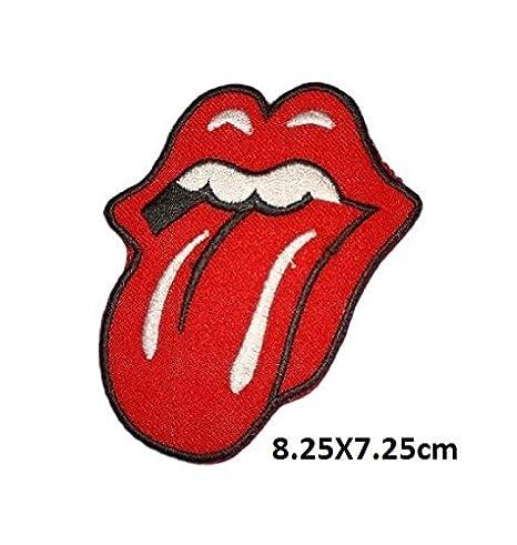 Rolling Stone Logo rojo | bordado de alta calidad Hierro en parche bordado para coser en insignias para ropa chaquetas camisetas abrigos bolsas sombreros ...