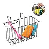 M SANMERSEN Kitchen Sponge Holder, Stainless Steel Kitchen Sink Caddy Organizer Sink Hanging Drain Basket for Brush Dishwashing Liquid Drainer Rack