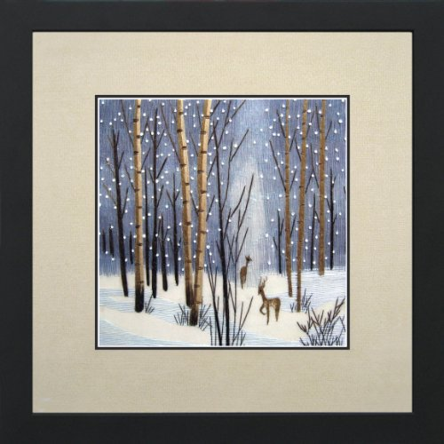King Silk Art 100% Handmade Embroidery Deer in Winter Woods Chinese Print Landscape Painting Gift Oriental Asian Wall Art Décor Artwork Hanging Picture Gallery 37053WF (Print Asian Wood)