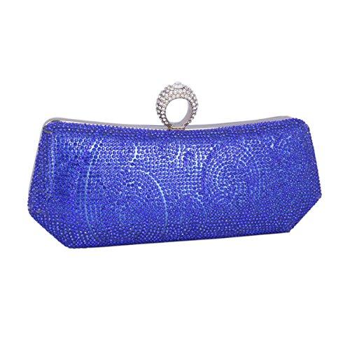 Adoptfade Clutch Con Diamante Brillante Para Fiesta Boda Señora,dorado Azul