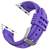 Cheree Apple Watch Band 38mm Silicone Strap Replacement for Apple iWatch Series 1 Series 2 Samsung Gear S3 Fitbit Blaze (Purple)