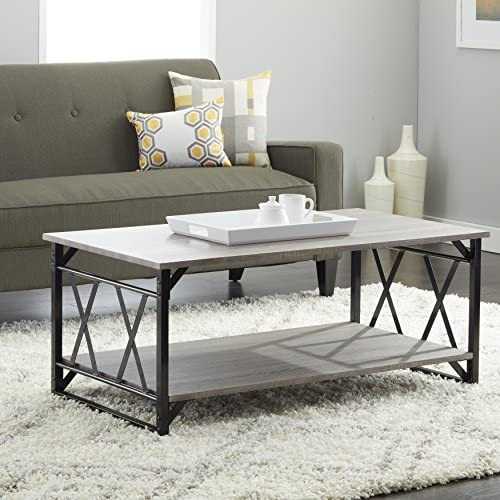 Simple Living Seneca Xx Black Grey Reclaimed Look Cocktail Table