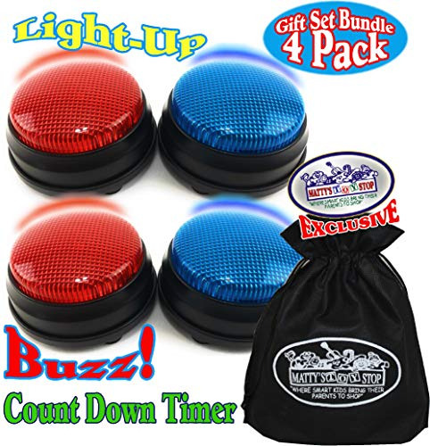 Matty's Toy Stop Lights & Sounds Electronic 3 Mode Red & Blue Game Answer Buzzer and Count Down Timer Gift Set Bundle with Bonus Storage Bag (Perfect for Games, Classrooms, etc.) - 4 Pack -