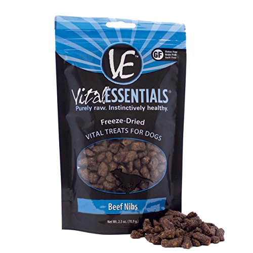 Vital Essentials Freeze-Dried Beef Nibs Grain Free Limited Ingredient Dog Treats, 2.5 Ounce Bag