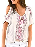 Famulily Women's Ethnic Printed Casual Loose Cold Shoulder Tops Tee Shirt