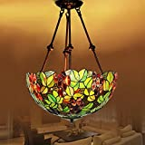 RainierLight Tiffany Style Multicoloured Hanging Ceiling Lamp Home Decoration 2 Light for Restaurant/ Bar/Coffee Shop /Home Chandelier 16-Inch