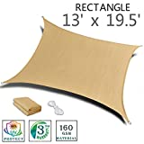 SUNNY GUARD 13' x 19.5' Sand Rectangle Sun Shade Sail UV Block for Outdoor Patio Garden