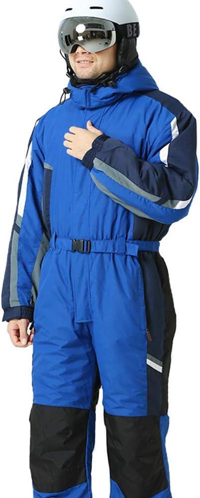 スキーウェア 雪のスーツ冬の服スノースキースーツワンピースのカバーオール断熱スーツ男性赤と青 ユニセックススキーセット (色 : Sapphire 青, サイズ : S) Sapphire 青 Small