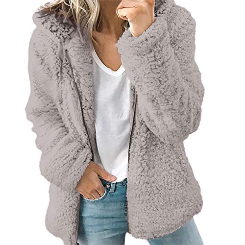 Ulanda Women's Long Sleeve Thick Hooded Open Front Cardigan Autumn Winter Warm Fuzzy Fleece Jacket Coat