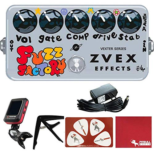 ZVEX Vexter Fuzz Factory Boutique Germanium Fuzz Effects Pedal with Polish Cloth, Pick Card, Tuner, Capo, and 9V Power Supply - Fuzz Boutique Pedals