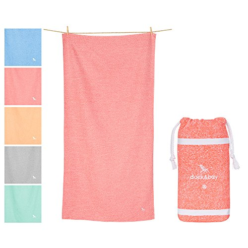Dock & Bay Microfiber Towel - Yoga, Sports & Fitness (Coral Red - Extra Large 78x35) - Fast dry, Compact, Lightweight
