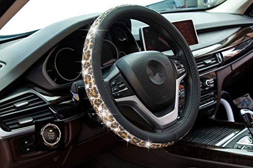 Crystal Steering Wheel Cover, Leather Surface Bling Bling Rhinestone, Black Universal 15-inch Protector for Female Girls. (Bing Black Gold)