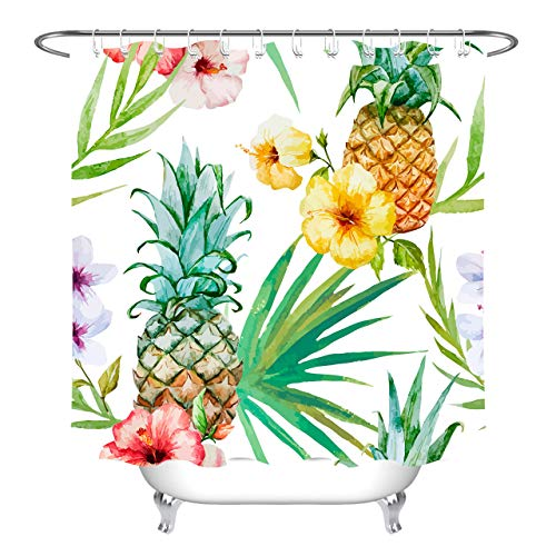 LB Modern Pineapple Shower Curtain Tropical Theme Pink Floral with Green Palm Leaves Fruite Shower Curtain 72x72 Inch Waterproof Fabric with 12 Hooks