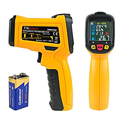 uxcell DMiotech Temperature Gun Non-Contact Digital Laser Infrared Thermometer GUN -58-1472 Fahrenheit (-50-800 Celsius)Temp Handheld Yellow Black