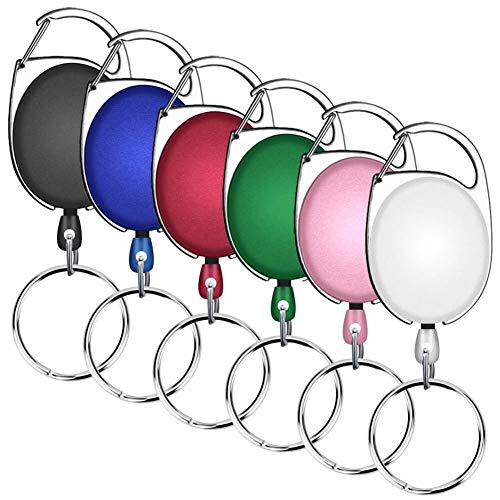 (Selizo 6 Packs Retractable Badge Holder ID Carabiner Badge Reels Retractable Key Holders Keychains with Key Ring, Assorted Colors)
