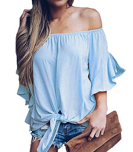 LuckyMore Womens Striped Off Shoulder Bell Sleeve Shirt Tie Knot Summer Blouses Tops (M, A-Light Blue)