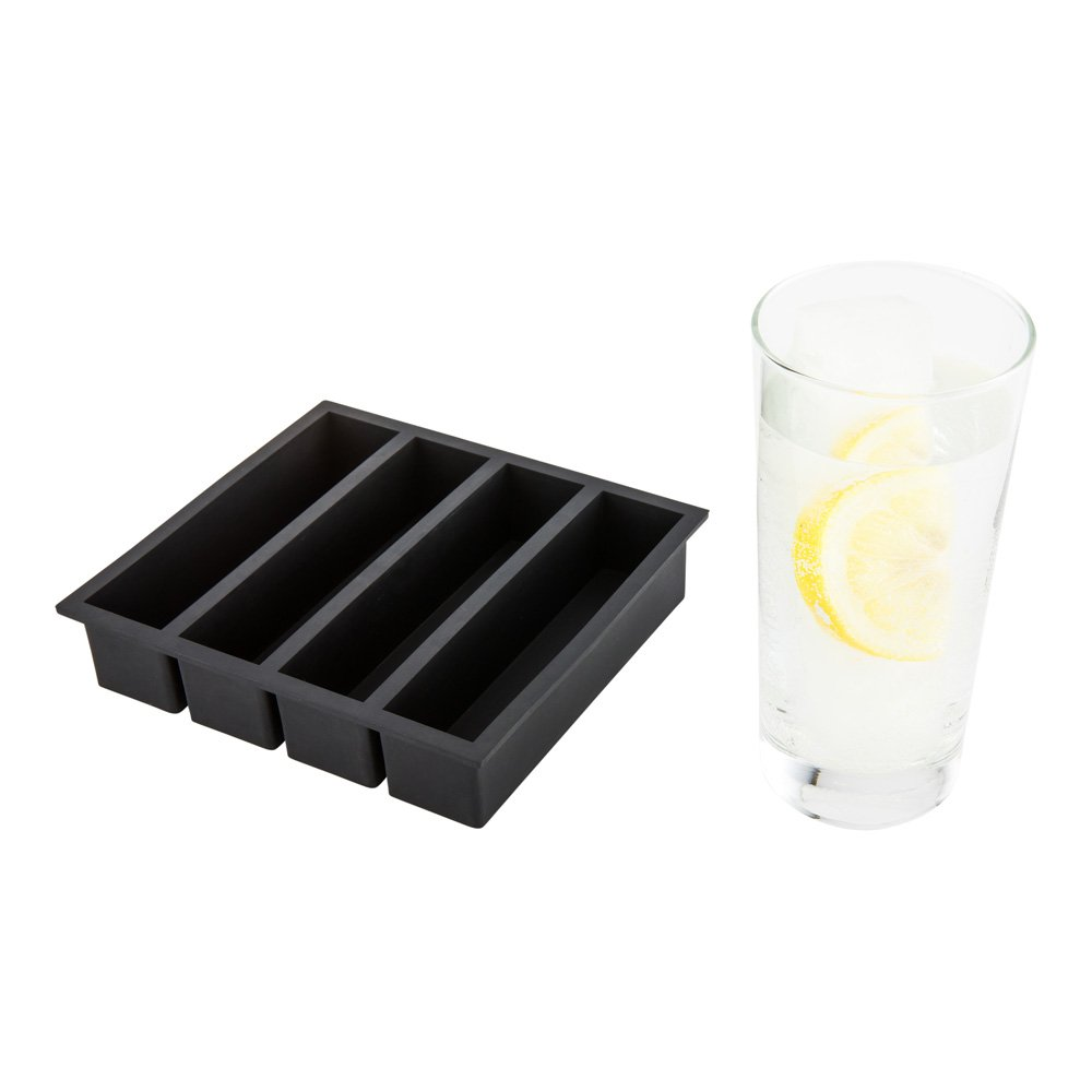 1.25-inch Ice Cube Tray – Makes 15 Cubes: Perfect for Commercial Bars or Home Use – Constructed from Durable Black Silicone – Dishwasher Safe – 1-CT – Restaurantware